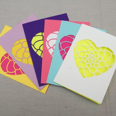 Mini Flower Heart Card in a range of colours including yellow, lilac, purple, pink, pastel blue and white.