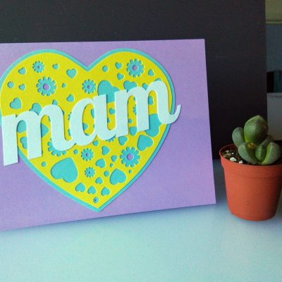 A Card for your Mam in lilac and yellow