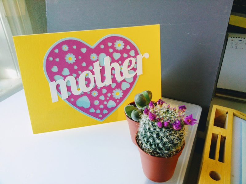 A Card for your Mam in yellow and pink customised to read mother