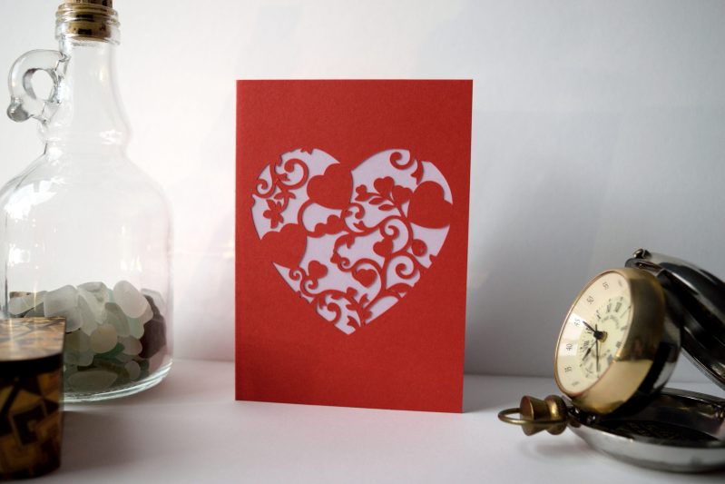 Mini Floral Vine Hearts Card in red and lilac