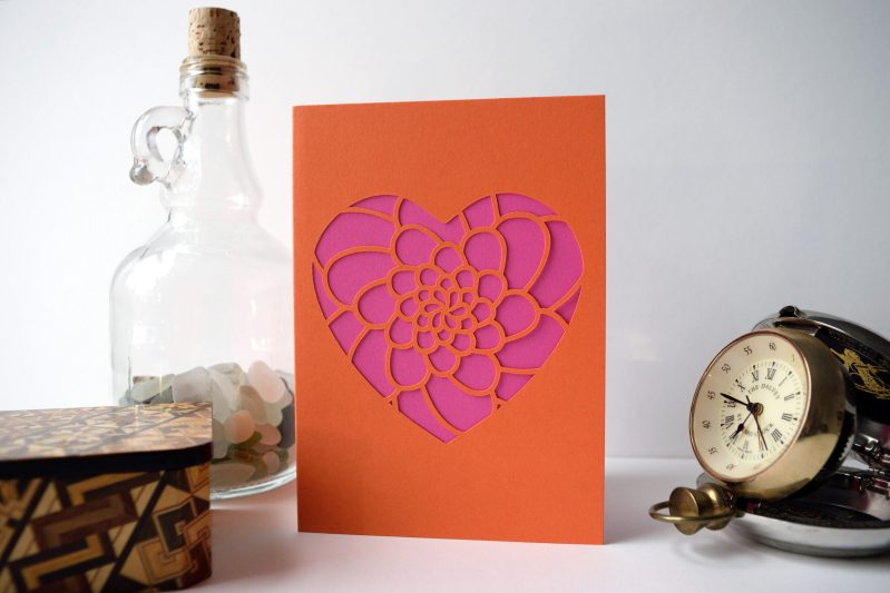 Mini Flower Heart Card in orange and pink