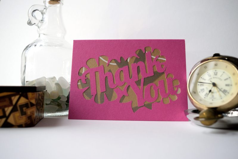 Thank You card in pink with brown patterned paper.