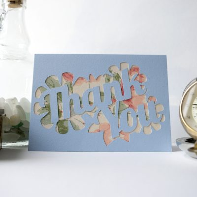 Thank You card in pastel blue with pink floral patterned paper.