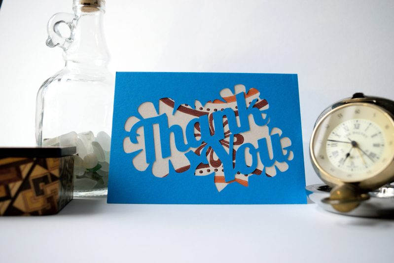 Thank You card in ocean blue with orange and white patterned paper.