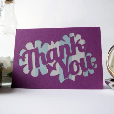 Thank You card in purple with blue striped patterned paper.