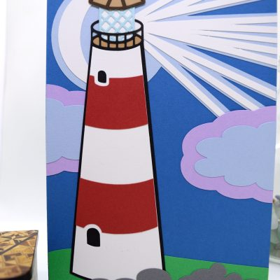 Lighthouse Greetings Card pictured from the front, close up for details.