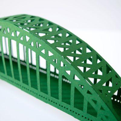 Tyne Bridge Activity Kit using green and tan card, just the bridge bit.