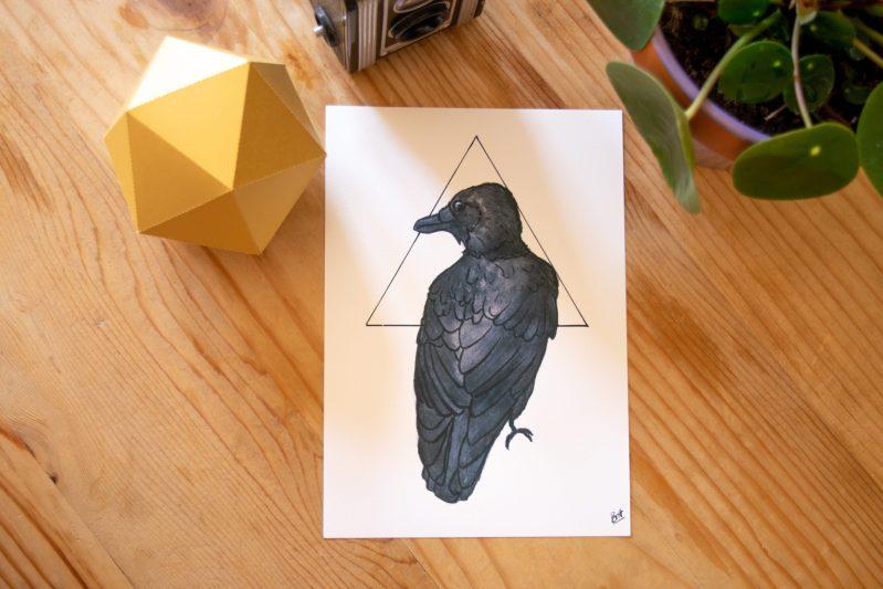 Crow Print on display