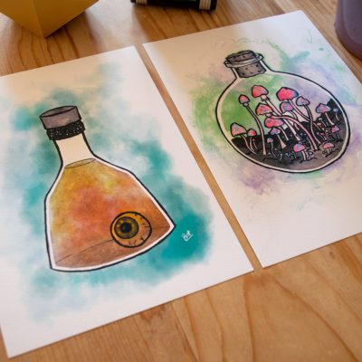 Seeing Potion Print and Mysterious Potion Print pictured together.