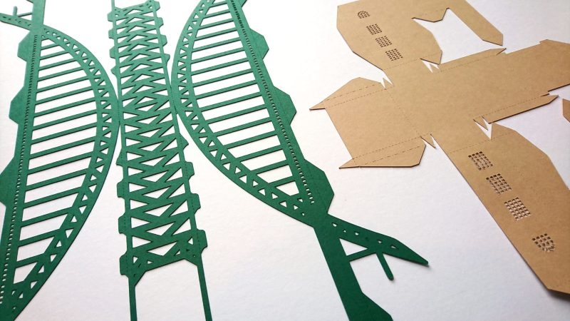 Tyne Bridge Activity Kit using green and tan card, flat shapes, cut ready for assembly.