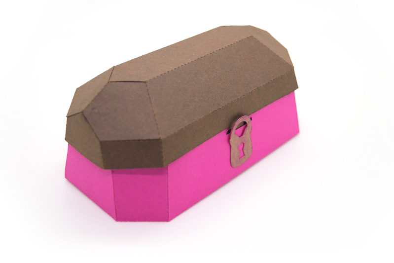 Treasure Chest in brown and pink.