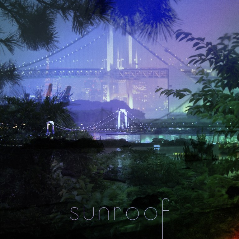 Sunroof Music Track Cover, a bridge visible through the trees. Lights in the distance.