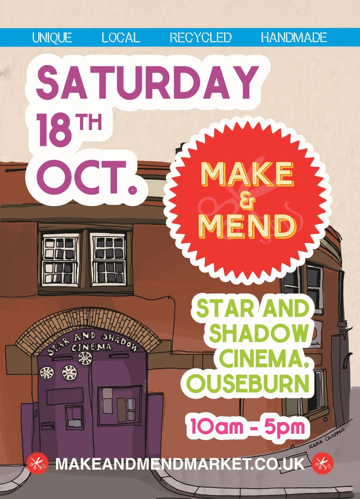 Make & Mend Market Flyer Design - Oct 2014 Star and Shadow Cinema - Illustration by Katie Chappell