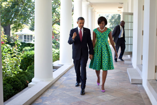 President Barack Obama and First Lady Michelle Obama walk along the Colonnade of the White House, Sept. 21, 2010. (Official White House Photo by Pete Souza) This official White House photograph is being made available only for publication by news organizations and/or for personal use printing by the subject(s) of the photograph. The photograph may not be manipulated in any way and may not be used in commercial or political materials, advertisements, emails, products, promotions that in any way suggests approval or endorsement of the President, the First Family, or the White House.