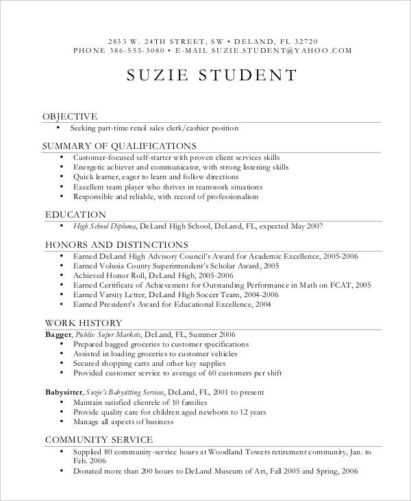 example of a good first time resume