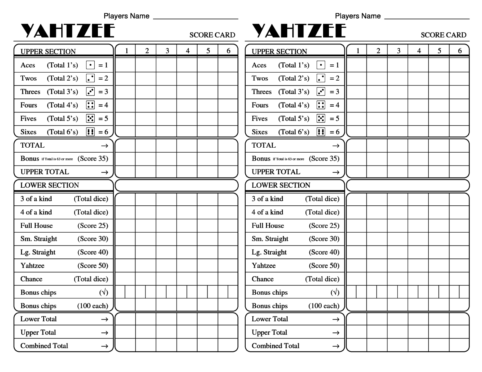 image regarding Printable Yahtzee Score Sheets Pdf identified as Nationwide Working day Of Reconciliation The Quickest Yahtzee Ranking