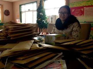 Morning with the envelopes piled high
