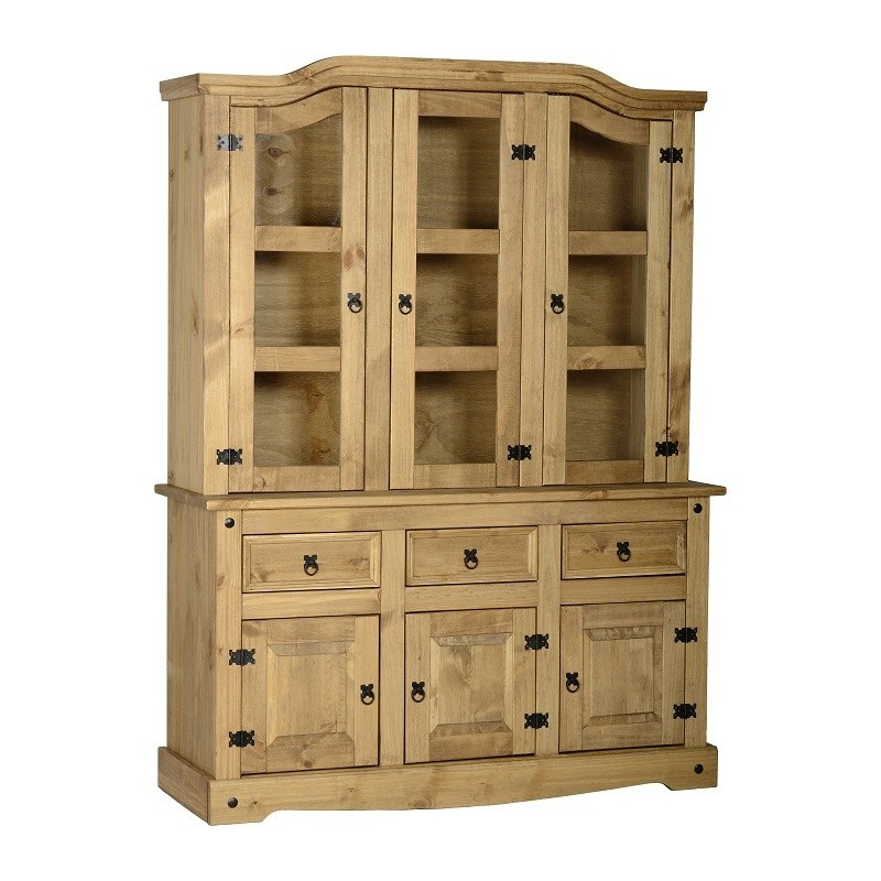 distressed leather dining chairs uk broda chair accessories corona 3 doors buffet hutch waxed pine