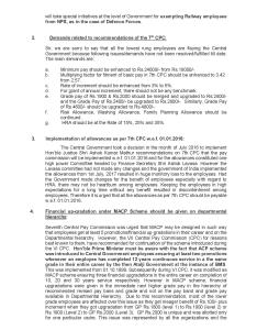 Charter of demands submitted tohon  ble minister railways on also rh brmsunion wordpress