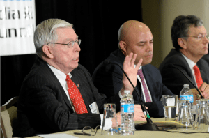 Former FCC Chairs Wiley Powell and Hundt at 2013 BBSJ Summit - by Jason Miccolo Johnson