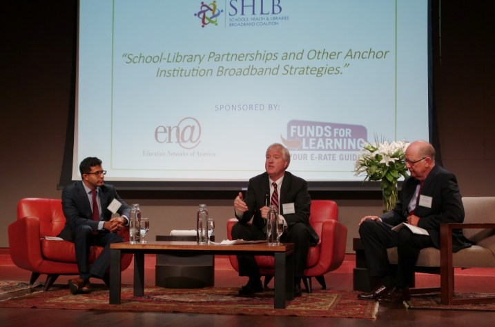 from left to right: Sujeet Rao, Dept of Ed; Doug Kinkoph, NTIA; Don Means, SHLB Chairman of the Board.