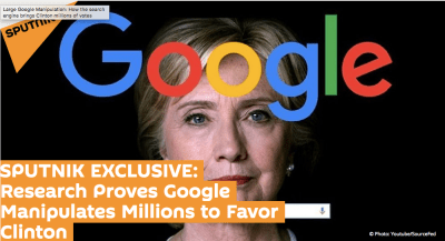 Graphic for the discredited Sputnik story accusing Google of manipulating searches against Trump, which he first cited in the closing months of the 2016 campaign.
