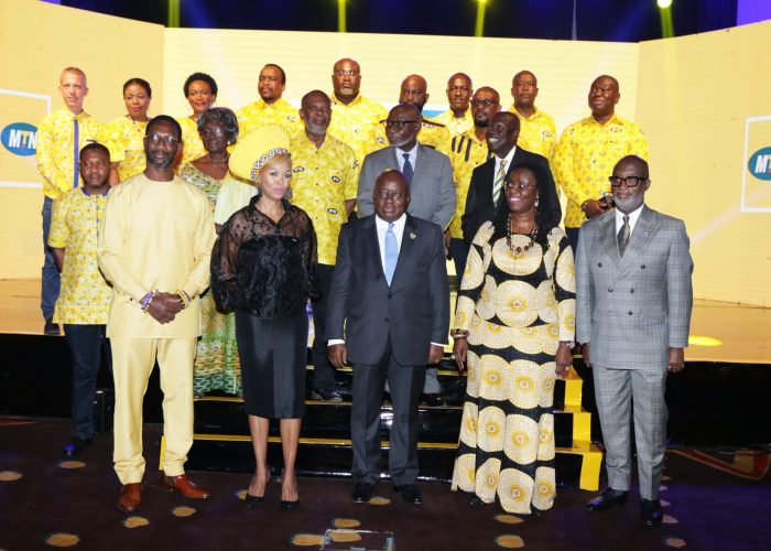 President Akufo-Addo (Mid) in a pose with Board Members and Executives of Scancom Plc. Front Row(L-R) CEO of MTN Ghana, South Africa High Commissioner, Min for Comms and CEO of GIPC.