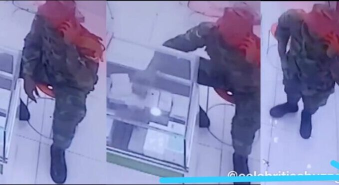 Ghanaian Soldier Caught On Camera Stealing iPhone 11 Pro At a Phone Shop Goes Viral [WATCH VIDEO]