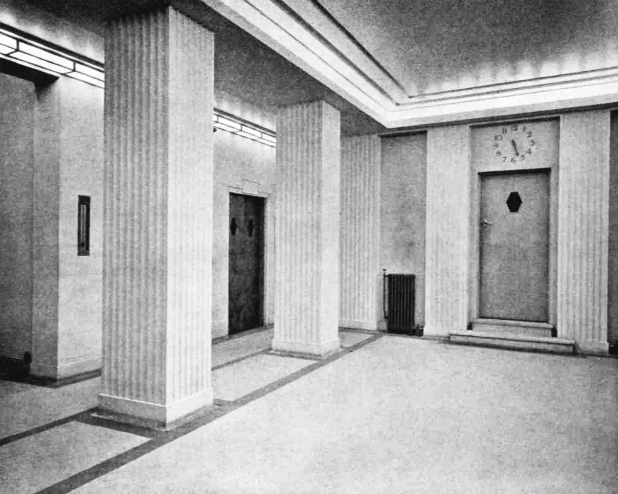 A bright open space with square pillars