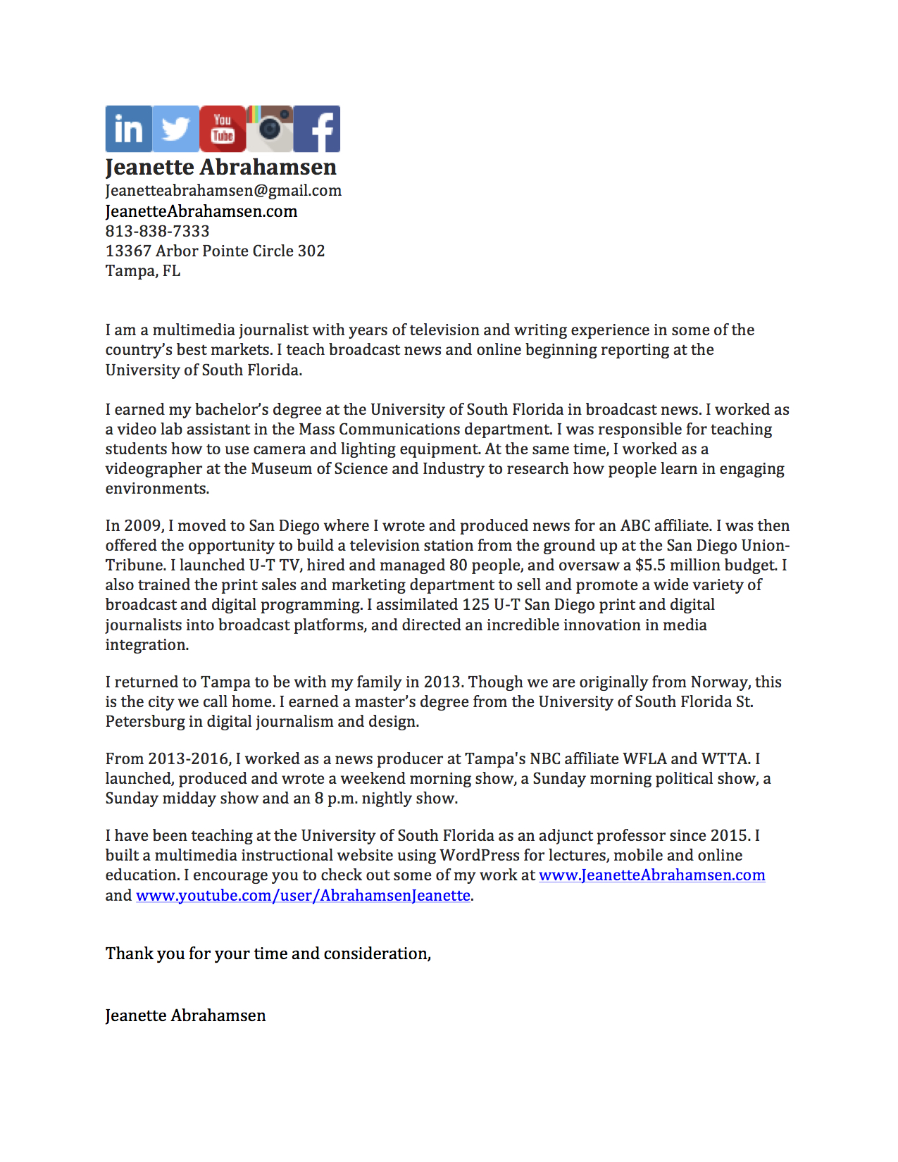 Tv Journalist Cover Letter  Broadcast Journalism Cover Letter