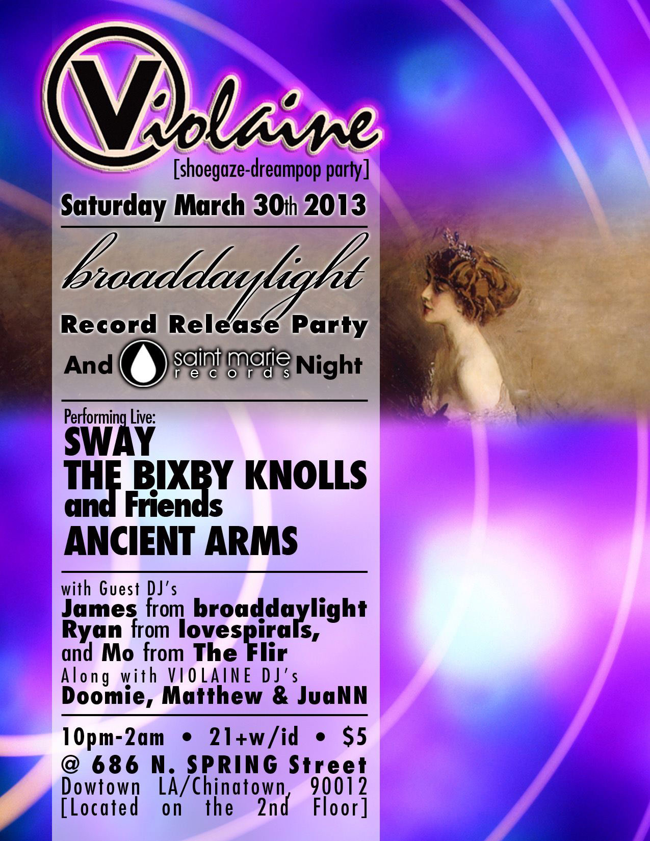 Club Violaine Anniversaries:Reunions record release party flyer