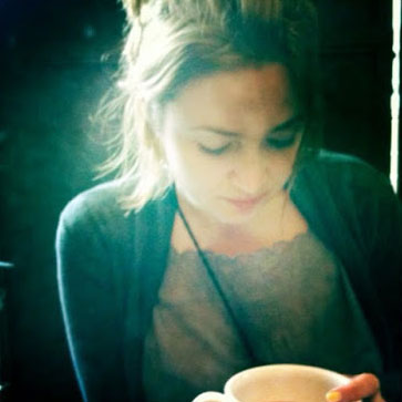 Sarah Eakins having coffee