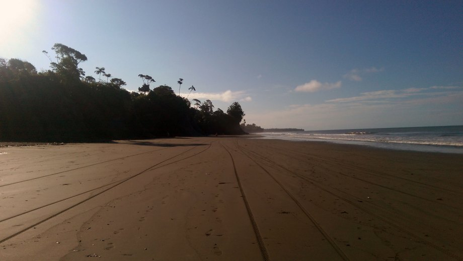 Motorbike tracks in the sand leading to and from La Barra