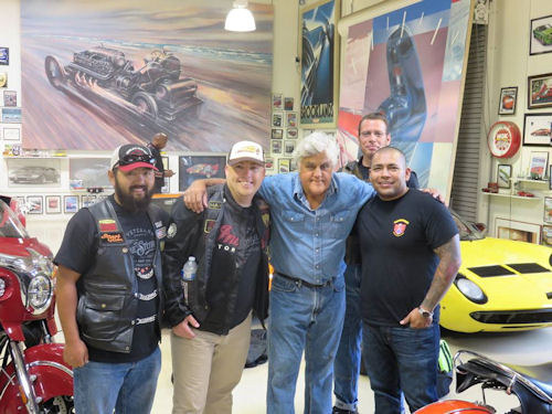 Tommy Montgomery, David Maxwell, Jay Leno, George Nickel (in the back), and another veteran rider.