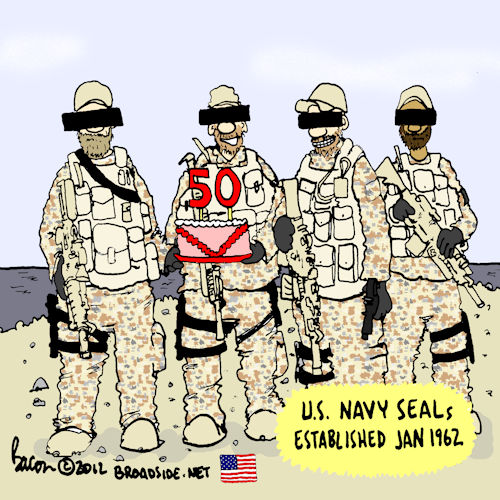 Cartoon celebrating the SEAL's 50th anniversary
