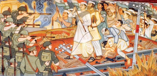 "Figure 1: Beohar Rammanohar Sinha, ""Quit India"" mural, c. 1952, Jabalpur, Shaheed Smarak Image credit: Abrsinha"