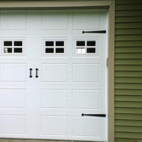 Closeup of garage doors.