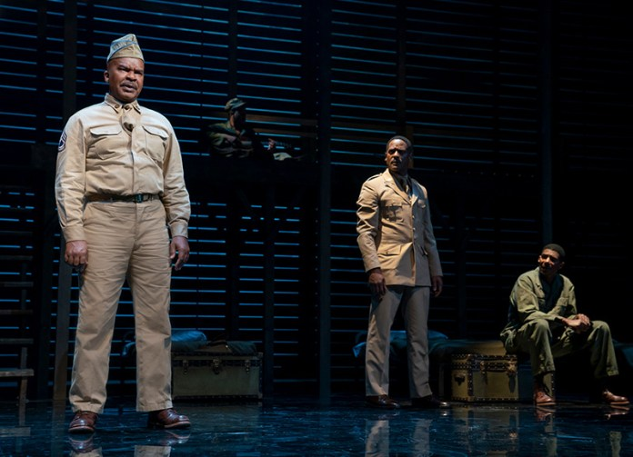David Alan Grier, Blair Underwood, and Billy Eugene Jones in <i>A Soldier's Play</i>. Photo by Joan Marcus.