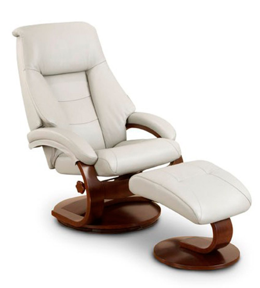 Mac Motion Chairs Mac Motion Leather Swivel Recliner With Ottoman In Cream