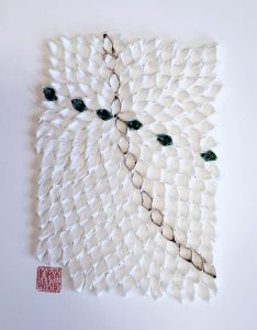 """Hiromi Ashlin, """"Hamon (Ripple)"""", Origami on Panel 14"""" x 10"""""""