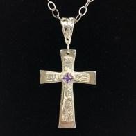 Sue Broadway - Silver Clay Cross with Purple CZ