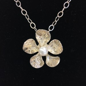 Sue Broadway, Silver clay hand sculpted flower pendant with set pearl, $