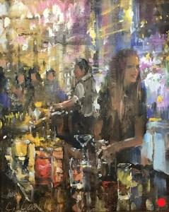 Christine Lashley Cocktails 10x8 Oil on Panel Sold