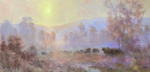 Christine Lashley Cows in the Mist 10x20 Oil on Canvas 2000 framed