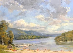 Christine Lashley Deep Creek Lake 12x24 Oil on Canvas