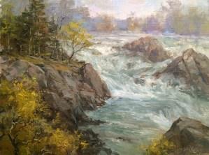 """Great Falls Mist"", 16"" x 12"", Oil on Panel"