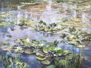 """""""Summer Shimmer, Water Lilies"""", 36"""" x 48"""", Oil on Canvas"""