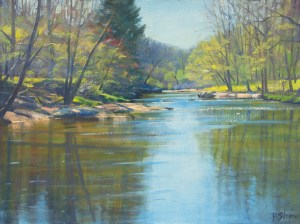 "Bradley Stevens, Spring on the Rappahannock, 18"" x 24"", oil on linen"