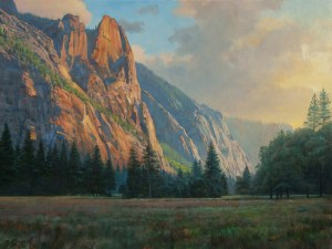 "Bradley Stevens, Valley Sentinels, Yosemite National Park, 30"" x 40"", Oil on linen"