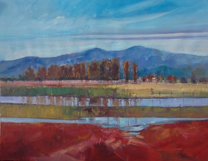 Ken Strong, Jerseyville Flooding of the Lower Pasture, 36X28, Oil on canvas